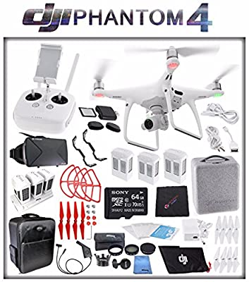 DJI Phantom 4 Quadcopter + Sony 64GB microSDXC Card + DJI Intelligent Flight Battery (3X TOTAL) + Card Reader + Cloth + Backpack + Multi Charger Hub + Adapter + 2 Pairs Propeller Blades (Red) Bundle