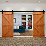 13FT Double Door Sliding Barn Door Hardware Kit,Door Track Hardware Set,Home Heavy Duty Sturdy Antique Style (Black)