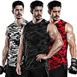 DRSKIN Men's 3 Pack Dry Fit Muscle Tank Tops Mesh