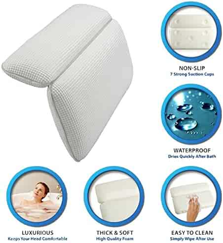 Gerowa Bath Pillow featuring Powerful Gripping Technology Supports Your Neck & Head Perfectly - Turn Your Bath into a Spa Experience