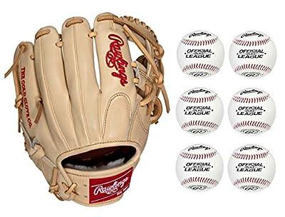 "Rawlings 11.75"" Pro Preferred Baseball Glove, Right Hand Throw w/ 6 Baseballs"