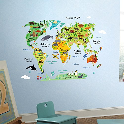 Large kids wall stickers murals educational animalfamous building educational yet fun world map for kids let your children discover the world with our animal world map notable animals and landmarks are represented on gumiabroncs Images