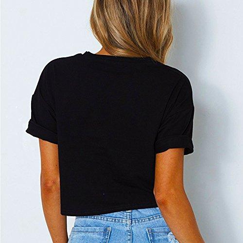 Bluse Crop Estivo Casual Righe Tumblr Jungen Shirts Top Nero Camicie Manica Tee Shirt Maglietta Rotondo Cucitura Donna T Collo Corta Moda BTTfqw