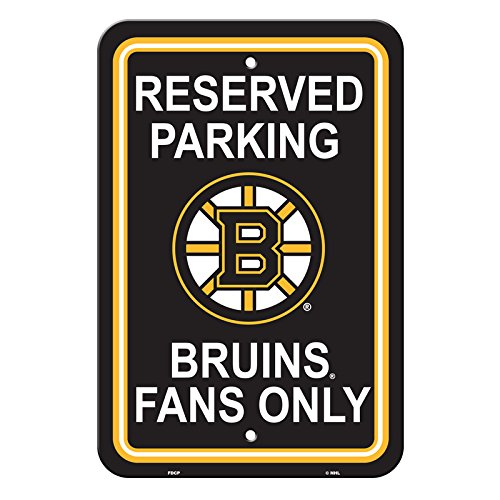 NHL Authentic Reserved Parking Sign, 12 x 18 Inch - Boston - Inch 18 Nhl Parking Sign