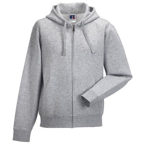 Russell Mens Authentic Full Zip Hooded Sweatshirt/Hoodie (L) (Light Oxford) (Hoody Russell Sweatshirt Athletics)