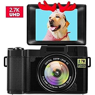Digital Camera Vlogging Camera with Flip Screen 2.7K 24.0MP 3.0 inch Retractable Flashlight YouTube Camera for Vlogging