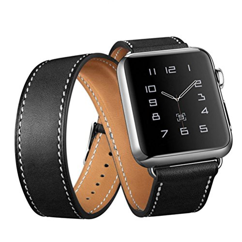 Egmy Watch Band Strap, Popular Long Leather Band Double Tour Bracelet Watchband for Apple Watch Series 1/2 42MM (Black) (Double Watch Bracelet)