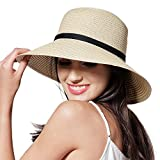 Sun Straw Hat for Women Girls Travel Packable Cap with Chin Strap