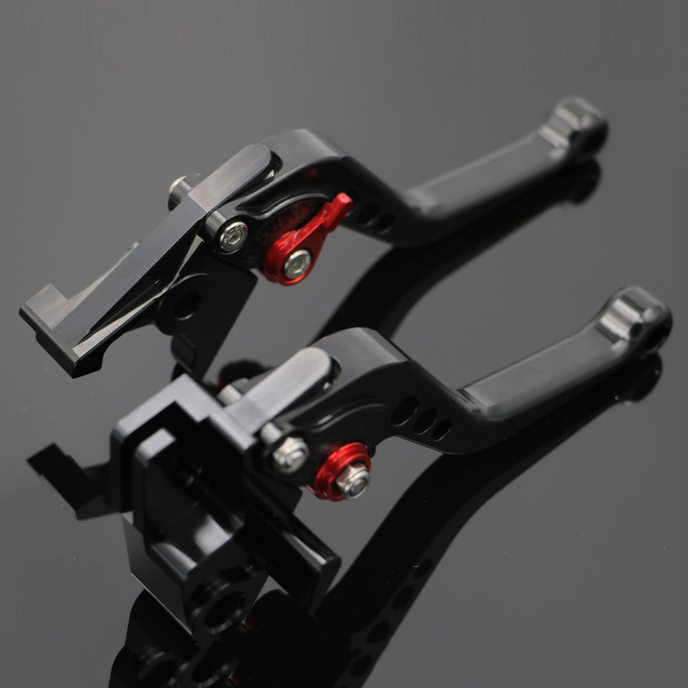 Alpha Rider CNC Motorcycle 6 Position Shorty Brake Clutch Levers For Kawasaki ZZR600 1990-2004 ZXR400 ZX9R 1998-1999 ZX-6 1990-1999 Black Motofans