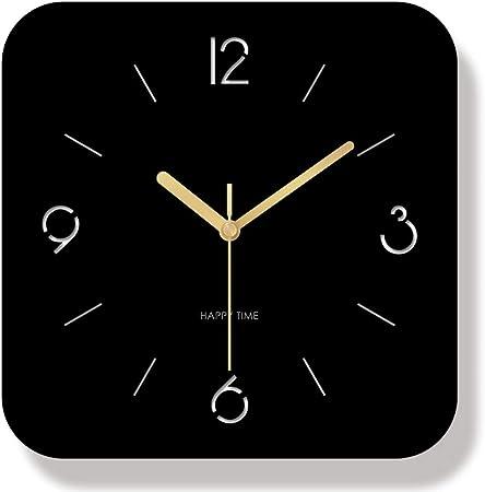 yaoyao Reloj de Pared 30 cm Negro Cortado con láser Cuadrado Mudo Arte nórdico Simple Cuarzo Moderno para Decorar la Sala de Estar Comedor Dormitorio Cocina Estudio Escalera etc.: Amazon.es: Hogar