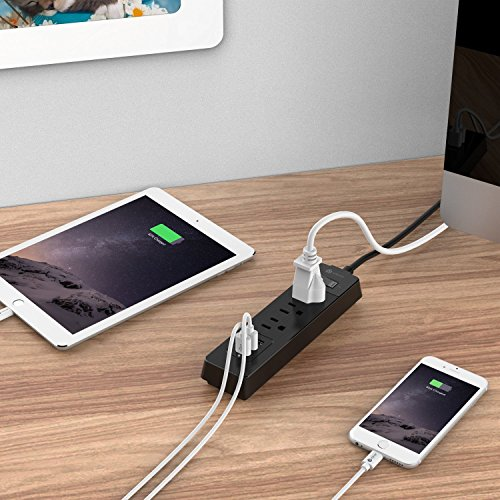 [Overload Switch Control] iClever BoostStrip IC-BS04 Power Strip   USB Charger with 3 USB + 3 AC Outlets, 6ft Extension Cord Charging Station - Black by iClever (Image #5)