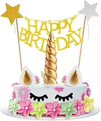 Amazon.com: coopay Juego de unicornio para tarta de ...