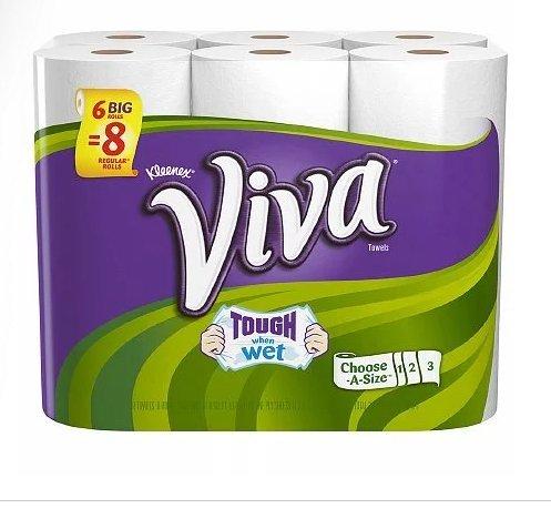 Viva Choose A Size Towels, Big Rolls 6 Big Rolls 528.0 sh Pack of 2