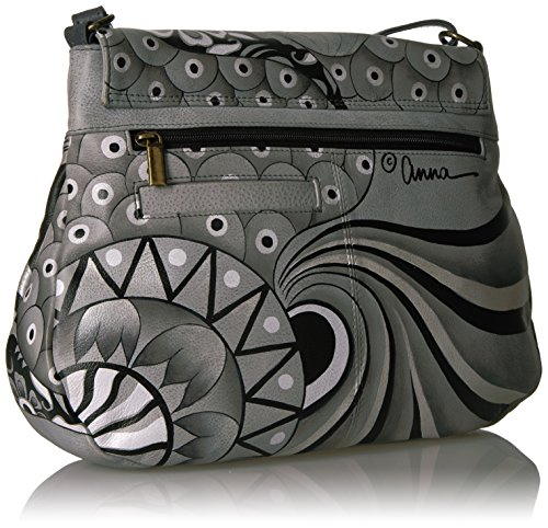 Anna Leather Handpainted Patchwork Hobo Pewter Pewter Anuschka Patchwork Flap TvpUvx