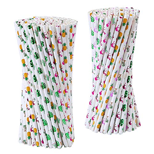 Cooraby 150 Pack Hawaiian Tropical Party Paper Straws Flamingo Pineapple Cactus Coconut Tree Palm Leaf Biodegradable Environment Friendly Drinking Straw for Party Favors