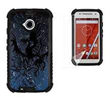 Moto E LTE 2ND GEN Case, XT1527/ XT1511/XT1505, Beyond Cell®[Dirtproof]High Impact Armor Hybrid Hard+Soft Rugged Durable Phone Case Dual Protection&built in kickstand- Dragon -FREE Screen Protector