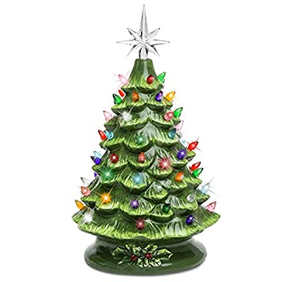 Best Choice Products Pre-Lit Hand-Painted Ceramic Tabletop Christmas Tree w/Lights, Star Topper