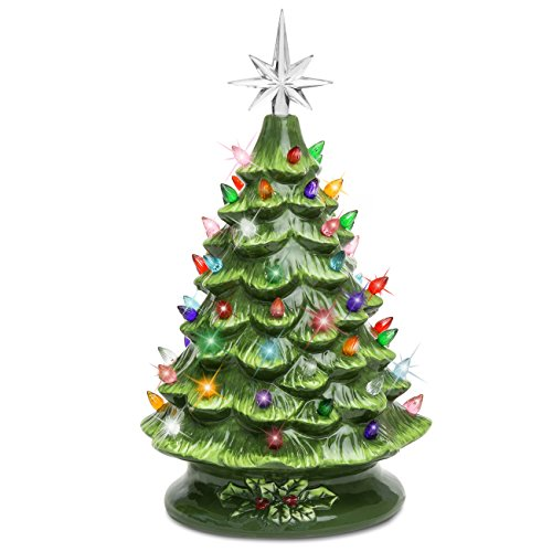(Best Choice Products 15in Pre-Lit Hand-Painted Ceramic Tabletop Artificial Christmas Tree Decor w/ 50 Multicolored Lights, Star Topper - Green)