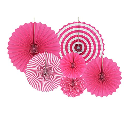 Christmas Garland Set - 6 Pieces Party Hanging Paper Fans Decoration, Round Pattern Paper Garlands Set for Thanksgiving Christmas Birthday Wedding Graduation Events Accessories by Luckystar (Pink)