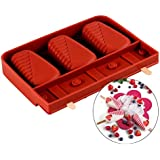 JoyGlobal Rectangle Oval Silicone Chocolate Lollipop/PopsicleMould,One Mould Of 3 Cavities,14.6x19.8x2.6-cm(Random colour,CH-524)