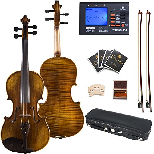 Cecilio 16.5 Inch Hand Oil Rubbed Highly Flamed 2-Piece Back Solidwood Viola with Tuner, CVA-600 by Cecilio