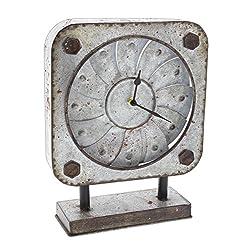Special T Imports Rustic Pinwheel Desk Clock (Square)