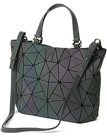 23863474cef1 Women Top-Handle Bags Geometric Luminous Bag PU Leather Purses and Women  Handbags Shard Lattice