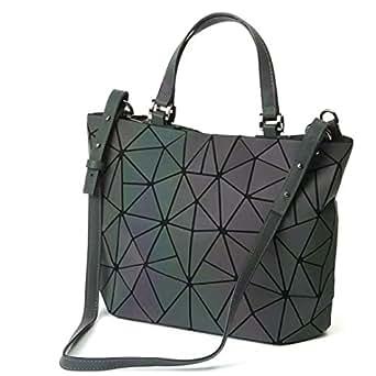 Women Top-Handbags Geometric Luminous Bag PU Leather Purses and Women Handbags Shard Lattice Eco-Friendly Holographic Purse Ladies Shoulder Bag Diamond Ladies Messenger Bags