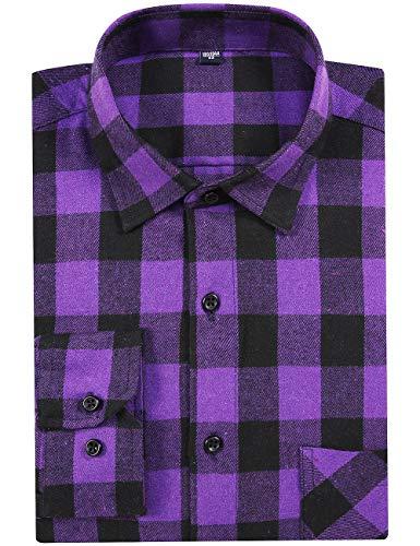 DOKKIA Men's Dress Button Down Buffalo Plaid Checked Long Sleeve Flannel Shirts (Purple Buffalo Plaid, -