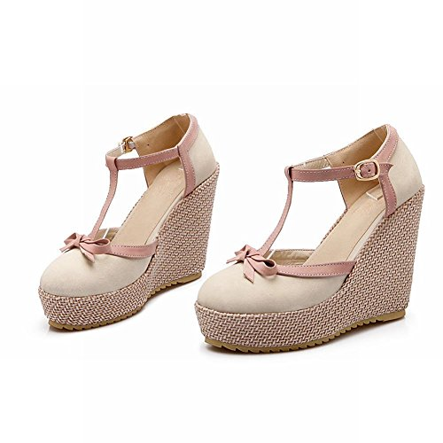 Carol Shoes Women's Sweet Cute High Heel Wedge Bows Sandals Beige 2b36uF3V