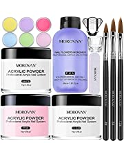 Morovan Acrylic Nail Kit Acrylic Powder and liquid set with 6colored Acrylic Nail powder System for Nail Extension and Decoration 3D Manicure DIY acrylic nails