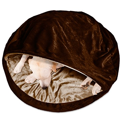 FurHaven Round Snuggery Burrow Pet Bed, Saddle Brown, 35