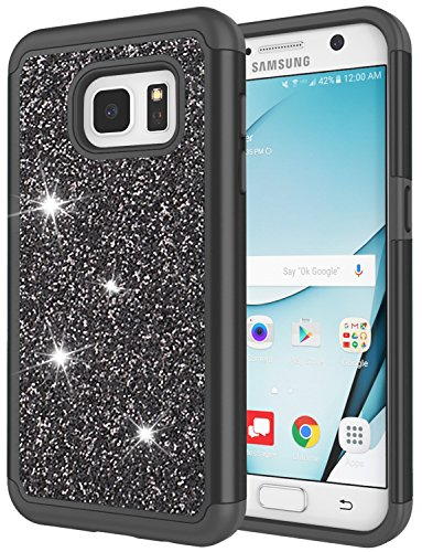 Crystal Bling Case Cover - Galaxy S7 Case for Girls, S7 Bling Case, Jeylly Glitter Luxury Crystal Dual Layer Shockproof Hard PC Soft TPU Inner Protector Case Cover for Samsung Galaxy S7 S VII G930 - Black