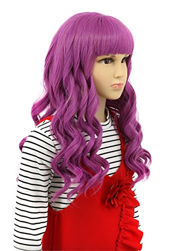 Karlery Child Kids Long Wave Purple Wig Halloween Cosplay Wig Anime Costume Party Wig (Best Cosplay Wig Stores)