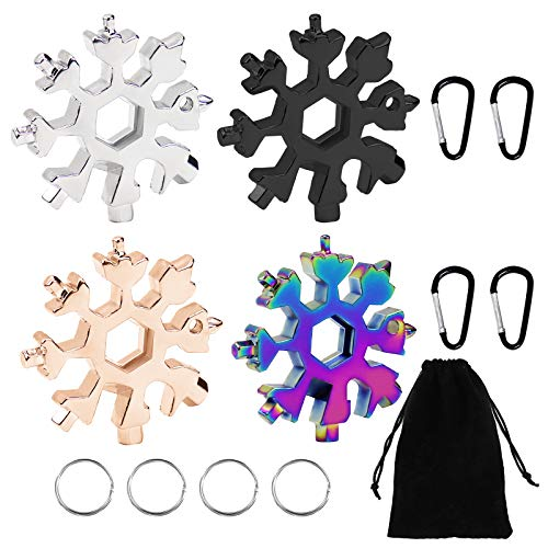 Snowflake Multi-tool,4 Pcs 18-in-1 Snowflake Standard Multi Tool, Stainless Steel Snowflake Wrench with Carabiner Clip, Key Ring and Storage Bag,Durable and Portable to Take