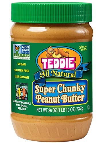Teddie All Natural Peanut Butter, Super Chunky, 26-Ounce Jar (Pack of 3) (Best Organic Peanut Butter Brand)