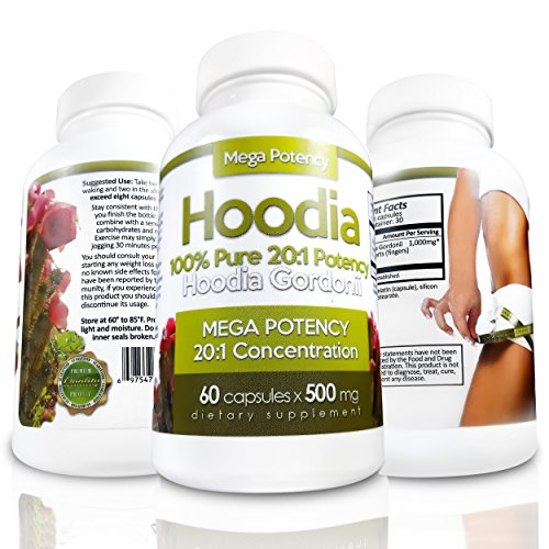 Hoodia Gordonii - Natural Appetite Suppressant Pills. 20:1 Potency is 20X Stronger Than Raw Hoodia. Stimulant Free Unlike Most Diet Pills & Weight Loss Products. Suppress Appetite & Lose (Gordonii Diet Weight Loss)