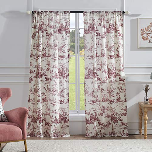 (Greenland Home Classic Toile Window Curtain Set, 84