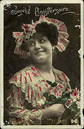 Amazoncom Joyeux Anniversaire Women Original Vintage Postcard