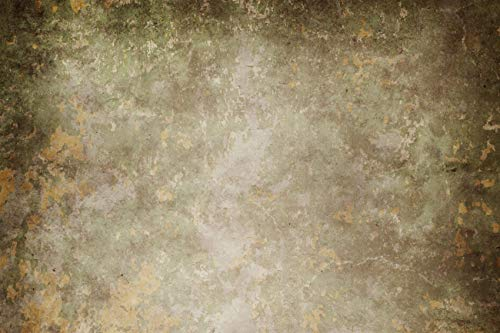 アンティーク調 緑 グレー コンクリート壁 背景 風化したステンドペイント カラグランジヴィンテージ レトロ 古い濃い色合い セメント 壁 チェッカー 床プリント キャンバス地 背景 12` wide by 8` tall GJ-25