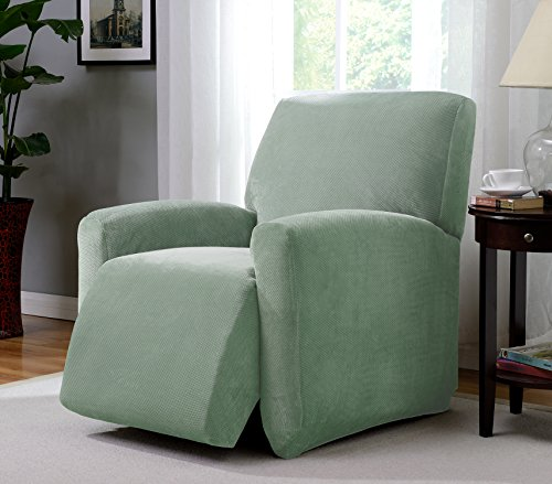 Madison PIQ-LGRECL-SE Stretch Pique large Recliner Slipcover Stretch Pique Seaglass,Large Recliner by Madison