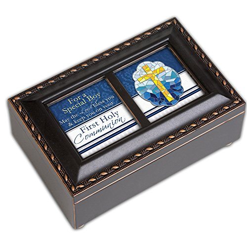First Holy Communion Special Boy Matte Black Jewelry Music Box Plays Handel's Hallelujah - Music Box Stained Glass