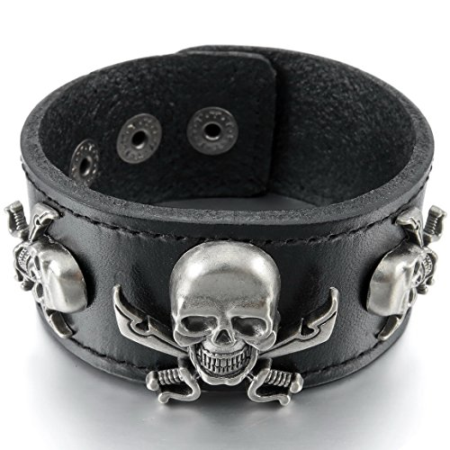 INBLUE Men's Alloy Genuine Leather Bracelet Bangle Cuff Silver Tone Black Brown Pirate Skull Adjustable - Pirates Mens Leather