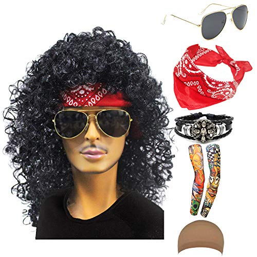 70s 80s 90s Men's Disco Halloween Rock Star Heavy Metal Wig Set Packet of 6 (Set-1)]()