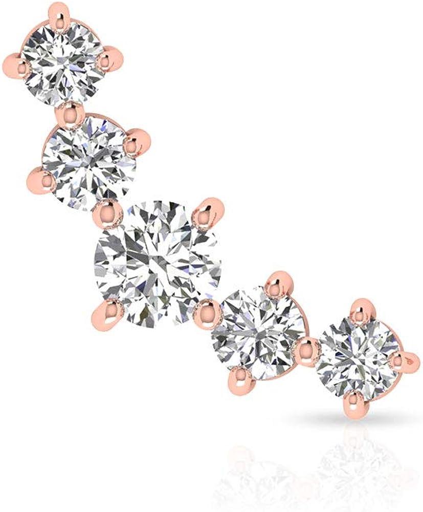 Pendientes de diamante de 0,53 ct con certificado SGL, pendientes de cartílago único, pendientes de orugas, minimalistas, joyas corporales, regalo para ella, Body Jewellery, Única pieza, 14K Oro