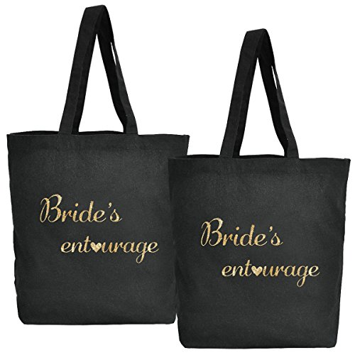 Elegantpark mano del Algodón Negro bolso Bridesmaid favor 1 de regalo 100 paquete Bride`s la Entourage Bolso de Lona Oro de boda 2 X Escritura del rq4qt