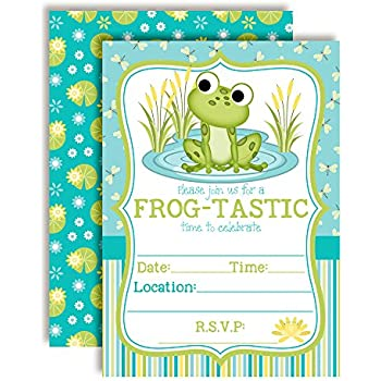 Amazon froggy frog fill in baby shower or birthday party little frog birthday party invitations for boys ten 5x7 fill in cards with 10 white envelopes by amandacreation filmwisefo