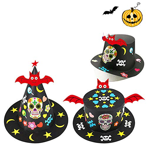 Halloween Hat 3 Pack with Bat Pumpkin Ghost Flowers Festival Birthday Performance Props Kindergarten Magician's DIY Hat Witch Hat Handmade Craft Creative Gifts for -