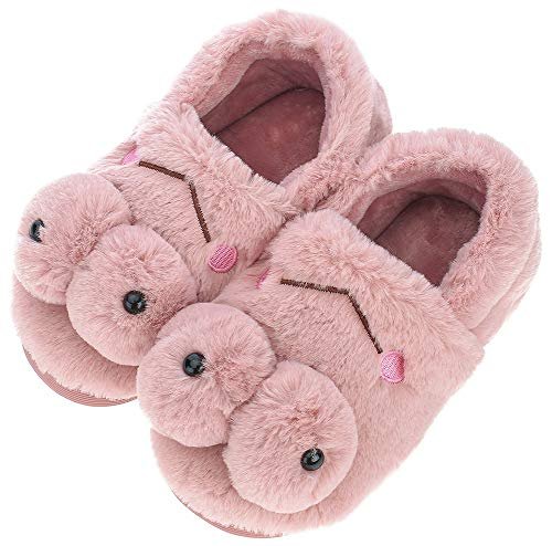 UIESUN Cute Frog Unisex Toddler Kids Slippers Shoes for Boys Girls House Slipper Purple 16/17 (Fuzzy Frog Slippers)