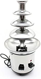4-Tier Chocolate Fondue Fountain Stainless Steel Chocolate Cream Cheese Melting Machine Commercial Home, for Party Restaurant Wedding